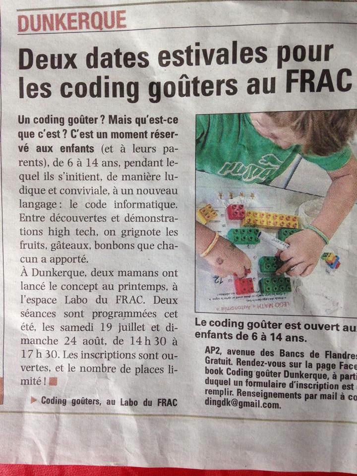 Article dans la Voix du Nord sur les Coding Goûters Dunkerque